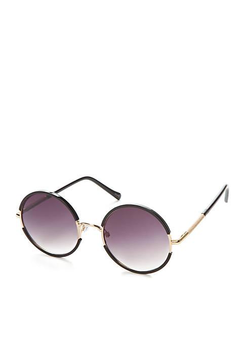 TRUE CRAFT Black Round Sunglasses