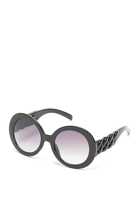 Oval Black Smoke Sunglasses