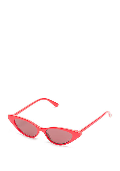 Plastic Cat Eye Red Opaque Smoke Sunglasses