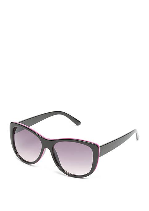 Plastic Black Opaque Smoke Sunglasses