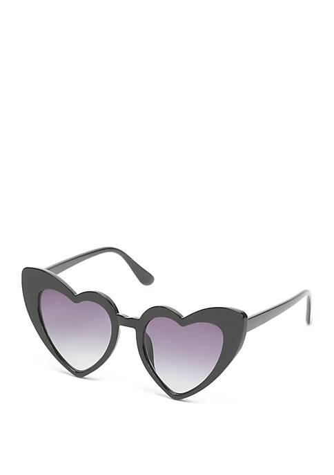 Plastic Heart Black Opaque Sunglasses