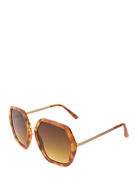 Two Tone Hexagon Sunglasses
