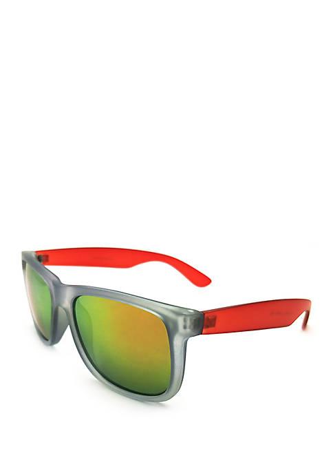 f50f58372b TRUE CRAFT Rectangular Gray and Red Sunglasses