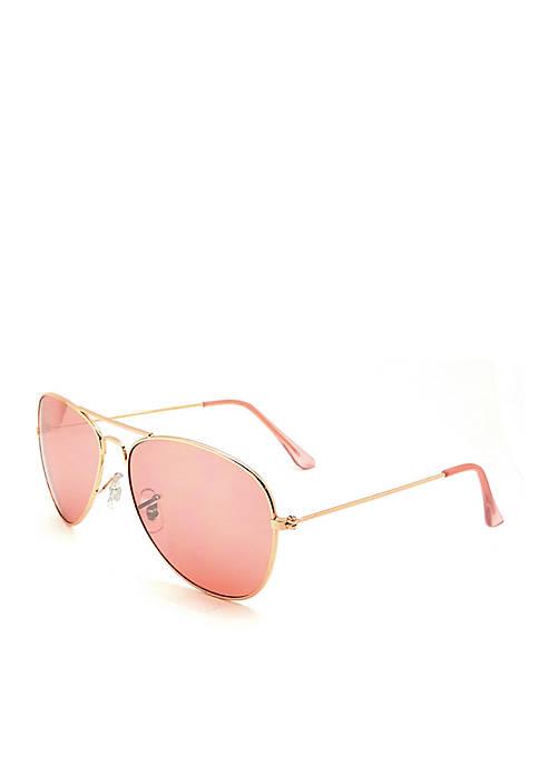 Rose Gold Aviator Sunglasses