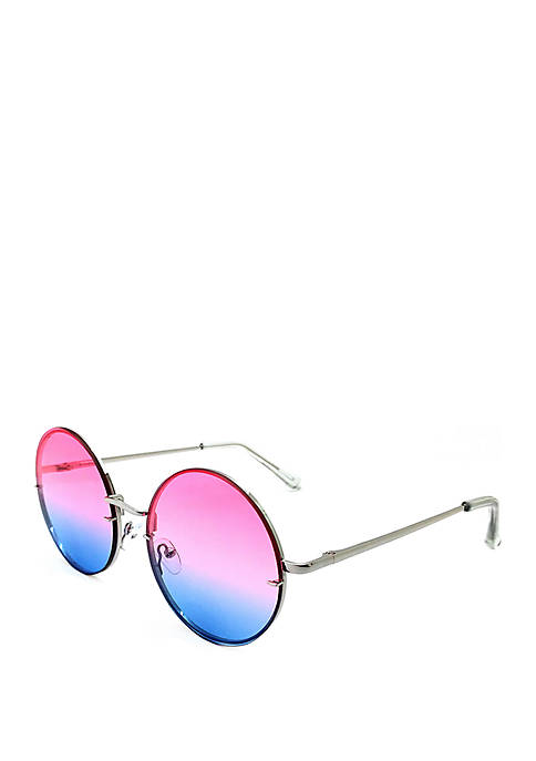 Round Silver Pink to Blue Sunglasses