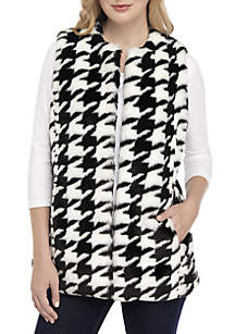 Houndstooth Faux Fur Cropped Vest