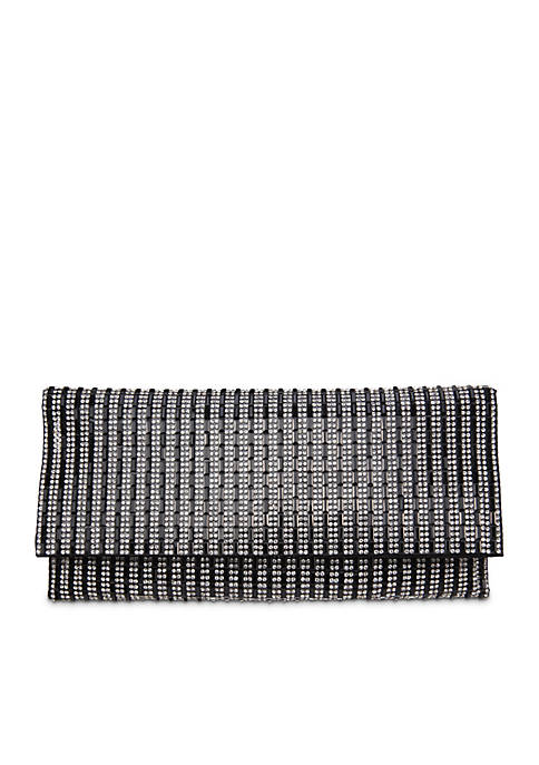 Nina Stripe Crystal Clutch