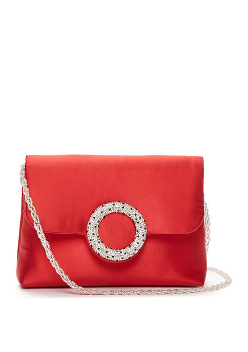 Pave Circle Embellished Clutch