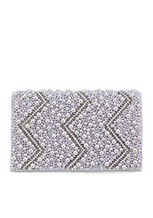 Pearls and Crystals Beaded Clutch