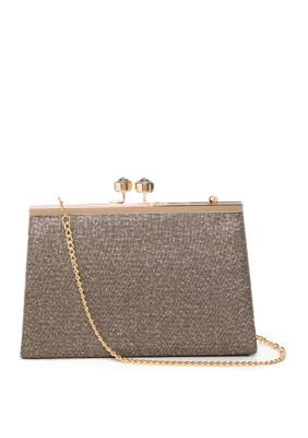 Nina Sparkly Frame Clutch with Crystal Lock