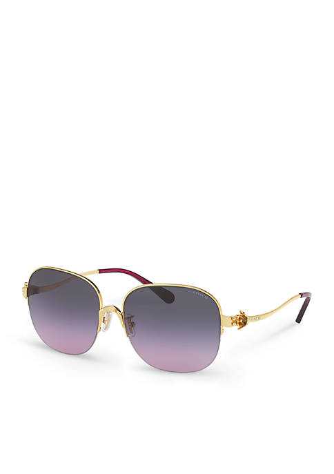 132e9180c9c COACH Tea Rose Rimless Square Sunglasses
