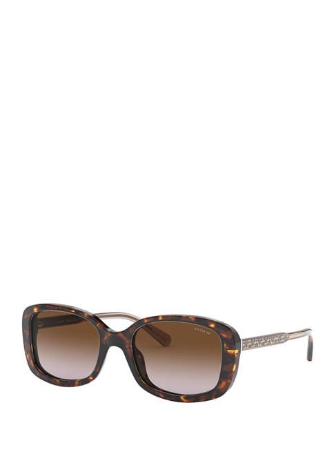 COACH Oversize Tortoise Square Sunglasses