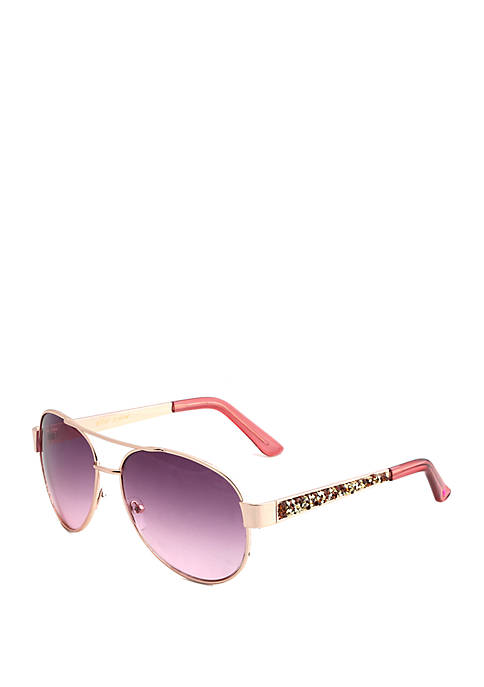 Betsey Johnson Aviator Sunglasses With Shimmer Temples