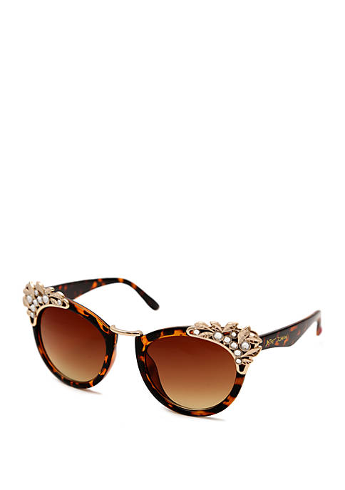 Betsey Johnson Cat Eye Sunglasses With metal Decor