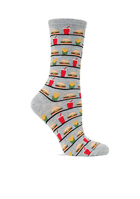Hot Sox® Hamburger and Fries Crew Socks