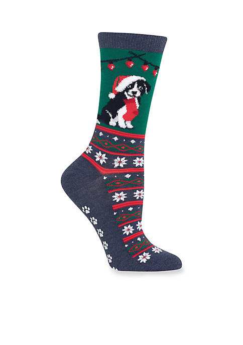 Christmas Border Collie Non Skid Crew Socks