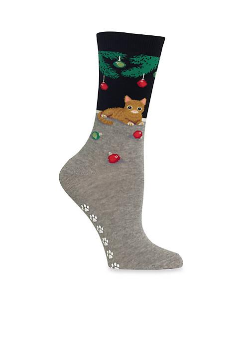 Christmas Cat Non Skid Socks