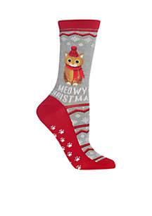 Meowy Christmas Non Skid Socks