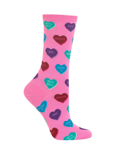 Hot Sox® Womens Heart Candy Crew Socks