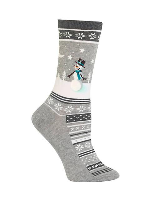 Snowman Scene Crew Socks