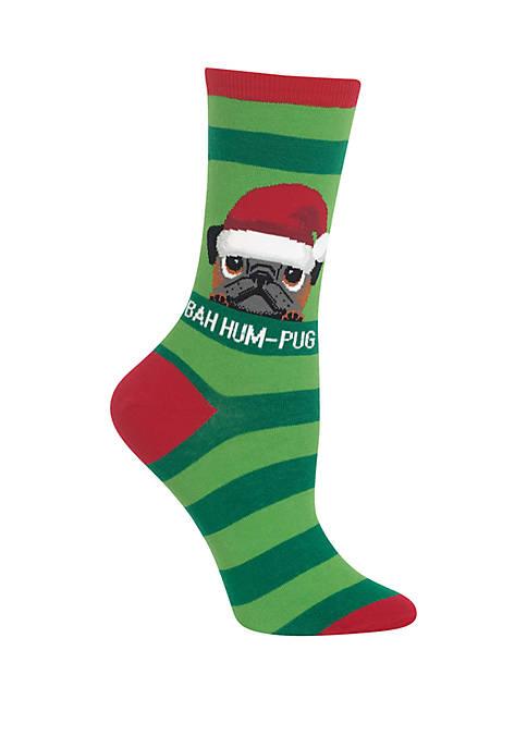 Hot Sox® Bah Hum Pug Crew Socks