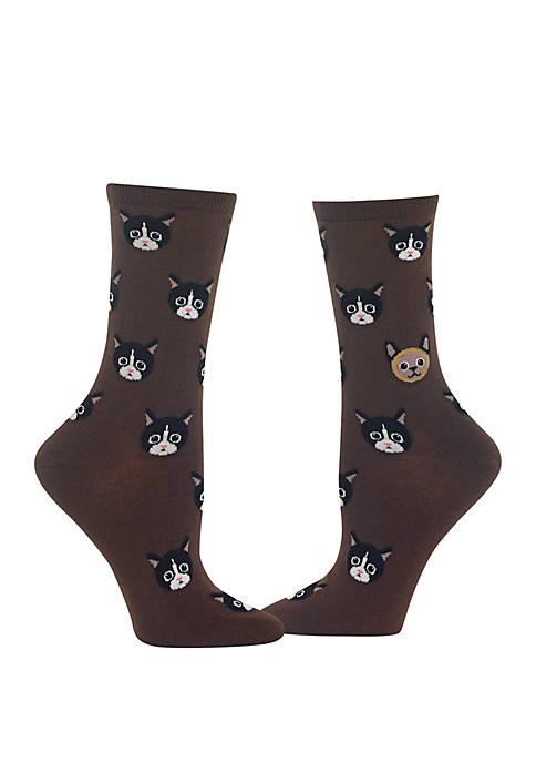 Cat Faces Crew Socks