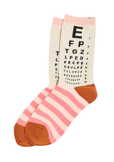 Hot Sox® Womens Eye Chart Crew Socks