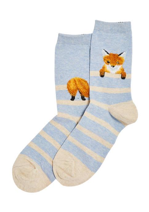 Hot Sox® Womens Fuzzy Fox Crew Socks