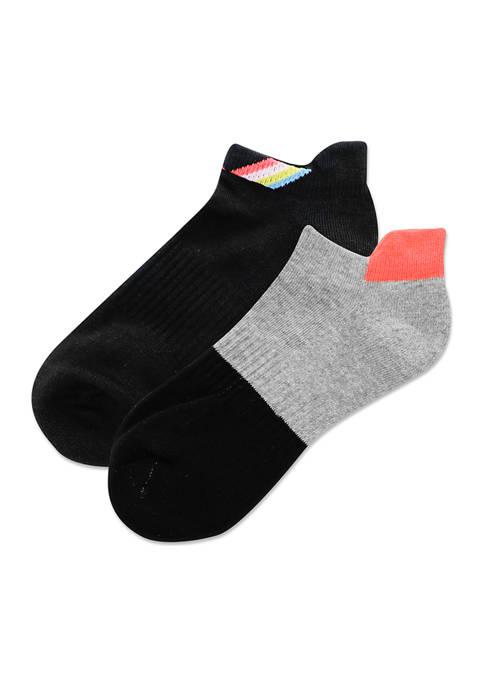 Womens Color Block Low Cut Socks - 2 Pack