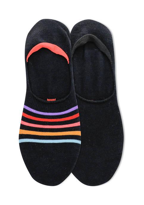 Womens Stripe Liner Socks - 2 Pack