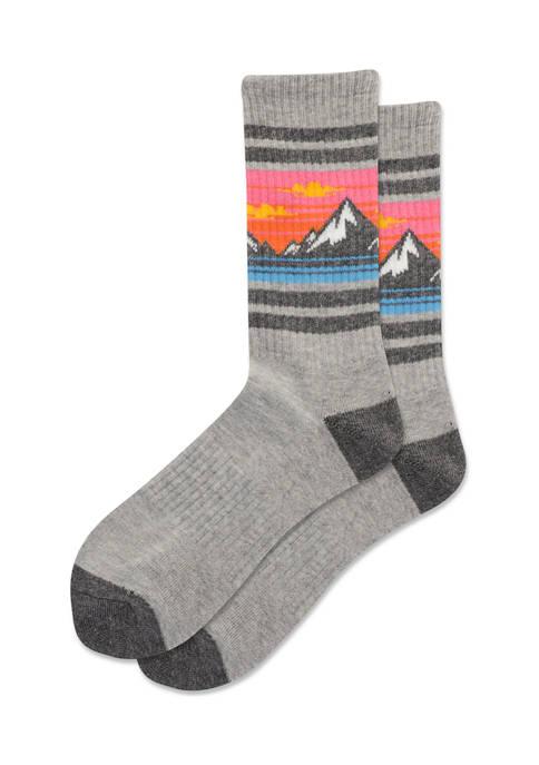 Hot Sox® Womens Mountain Stripe Crew Socks