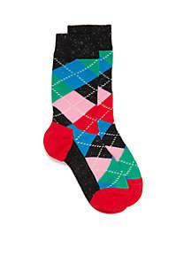 Argyle Crew Socks - Single Pair