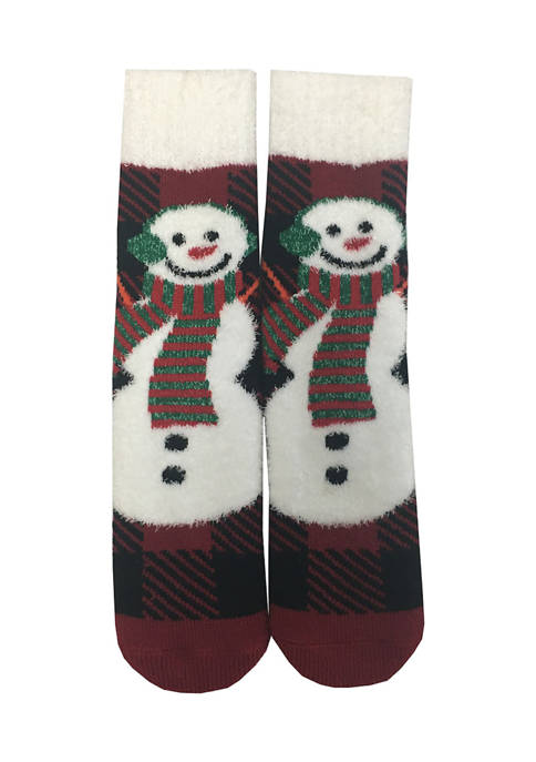 New Directions® Snowmen Black Watch Ribbed Slippers