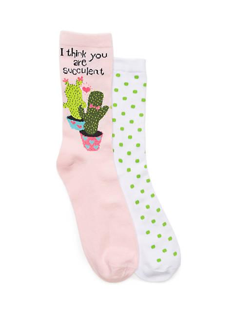 2 Pair Cactus and Polka Dot Sock Set