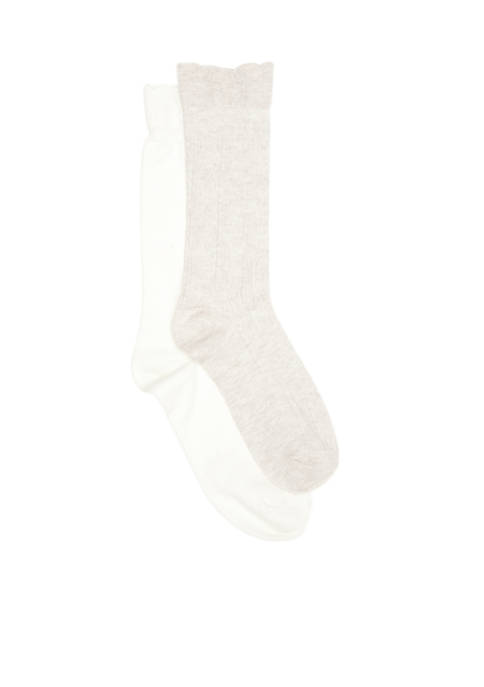 New Directions® Boyfriend Midcalf Socks with Flutted Top