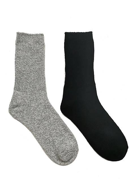 2 Pack Womens Marled Ribbed Casual Crew Socks