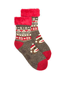 Fair Isle Monkey Cabin Slipper Socks
