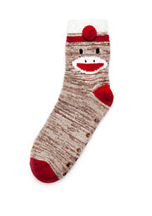 Sock Monkey Knit Slipper Socks