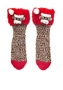 Faux Fur Cuff Monkey Slipper Socks