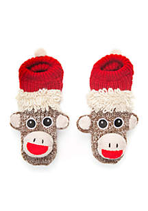Hand Knit Monkey Slipper Socks