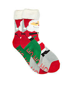 Sherpa Lined Holiday Scene Slipper Socks