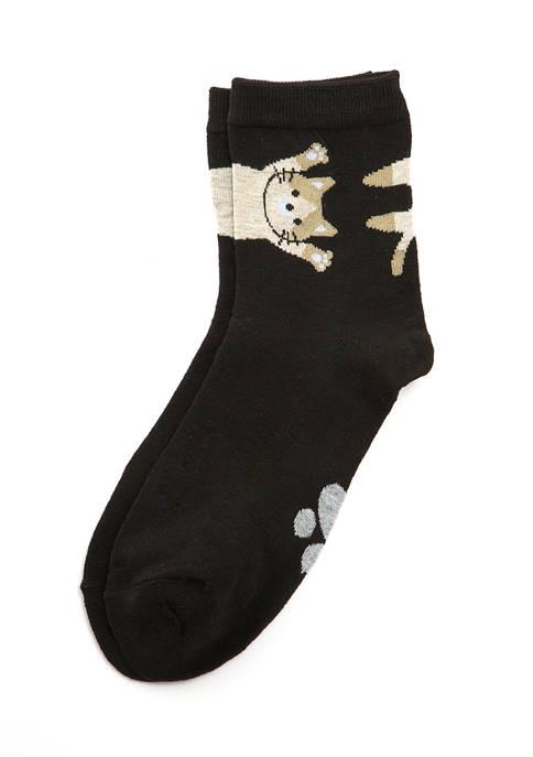 Cat Border Anklet Socks