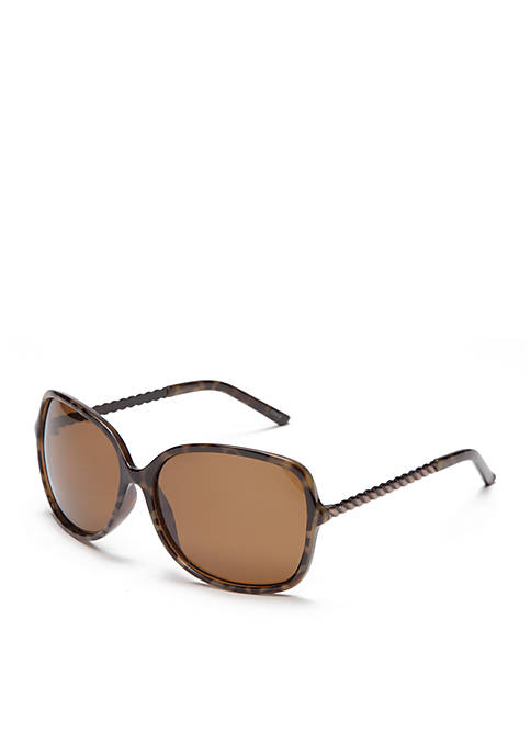 New Directions® Plastic Square Brown Tortoise Sunglasses