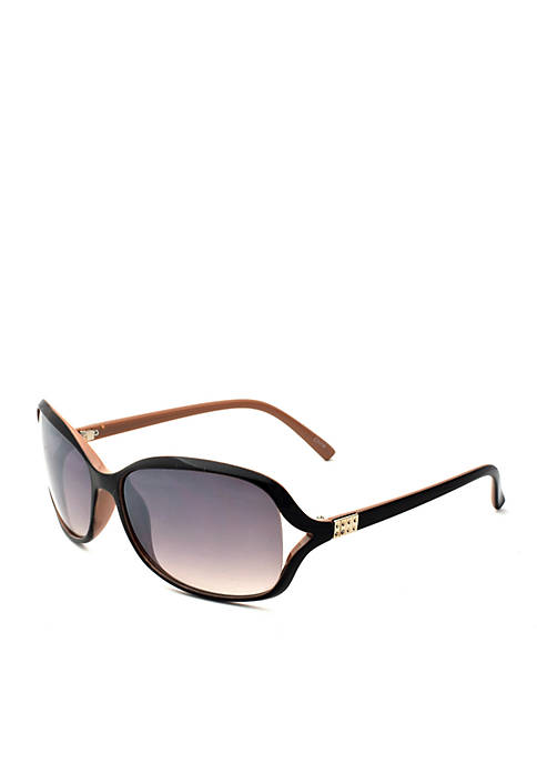 New Directions® Black Rectangle Sunglasses