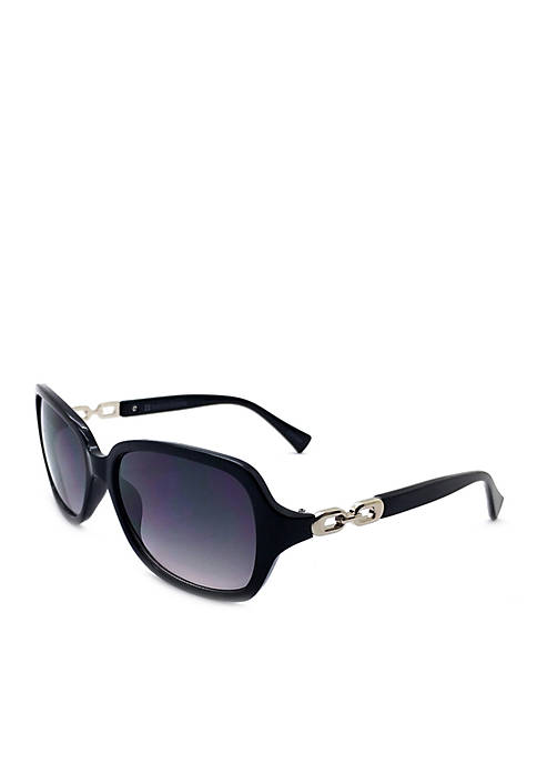 New Directions® Black Rectangle Sunglasses