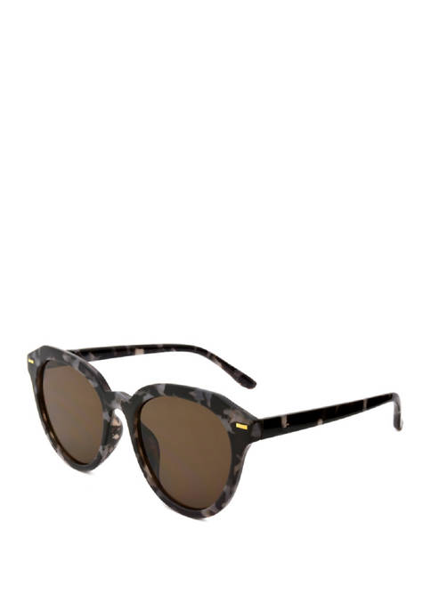 New Directions® Round Black Marble Sunglasses