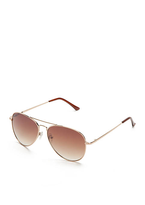 New Directions® Shiny Gold Toned Metal Aviator Sunglasses