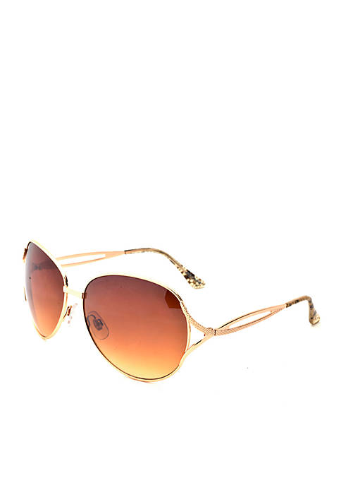 New Directions® Gold Round Metal Sunglasses