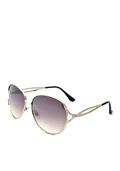 New Directions® Silver Round Metal Sunglasses