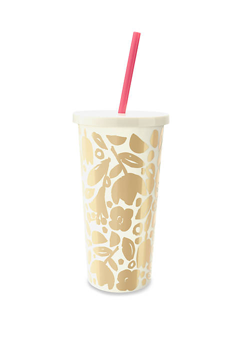 kate spade new york® Tumbler with Straw, Golden